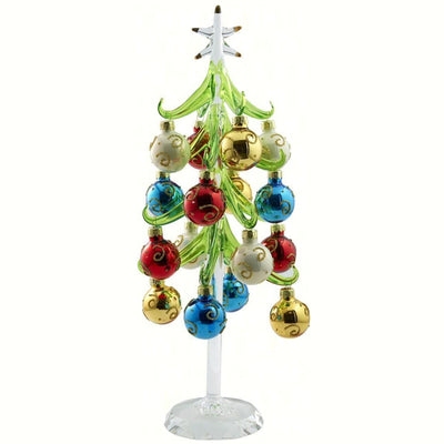 Glass Tree w/Ornaments 12 inch