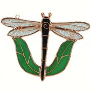 Black Dragonfly Stained Glass Suncatcher