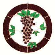 Grapes & Vines Stained Glass Window Panel 8""