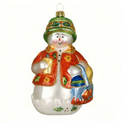 Beachy Snowman Glass Ornament