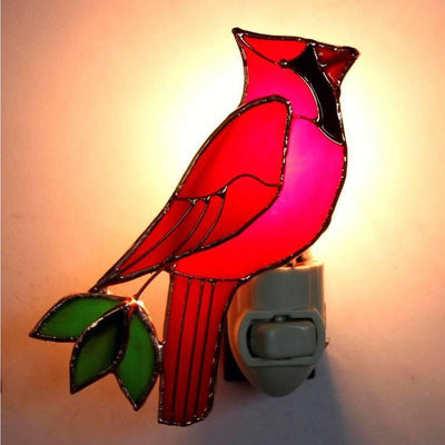 Cardinal Stained Glass Night Light