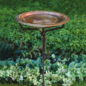 Copper Birdbath w/Iron Twig Stand
