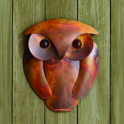 Solid Owl Flamed Metal Wall Sculpture