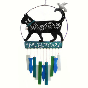 Meow Cat Glass Wind Chime