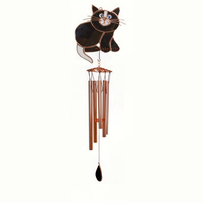 Black Cat Stained Glass Wind Chime 40