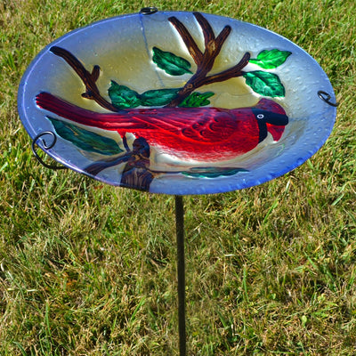 Cardinal Glass Bird Bath w/Stake