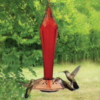 Faceted Glass Ruby Hummingbird Feeder