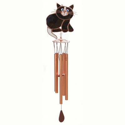 Black Cat Stained Glass Wind Chime 20