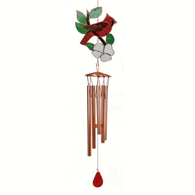 Cardinal Stained Glass Wind Chime 40