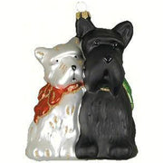 Christmas Scotties Glass Ornament