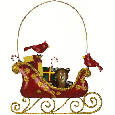Cardinals Metal Sleigh Hanging Decoration