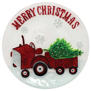 Red Tractor Glass Holiday Serving Platter