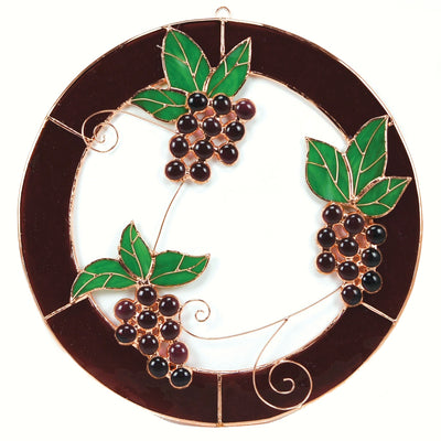 Grape Clusters Stained Glass Window Panel
