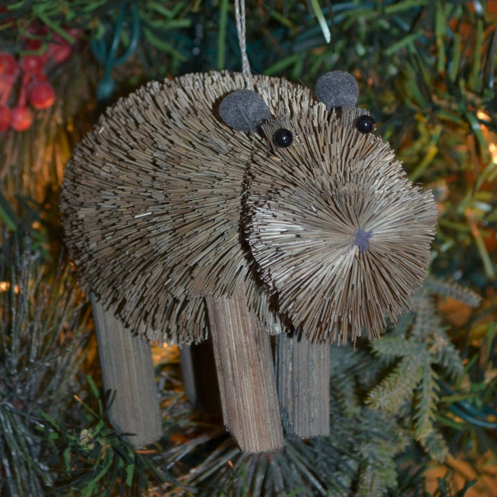 Hippopotamus Bristle Brush Ornament