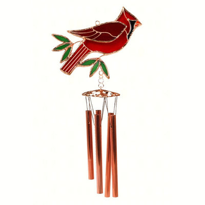 Cardinal Stained Glass Wind Chime