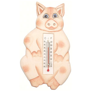 Sitting Pig Window Thermometer Small