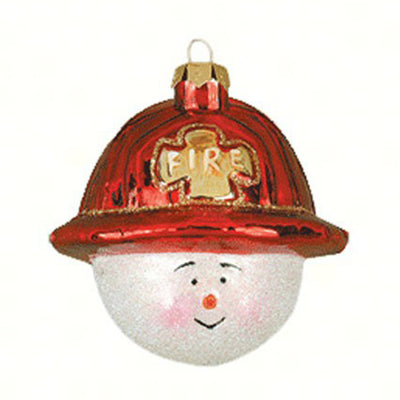 Fireman Snowman Glass Ornament