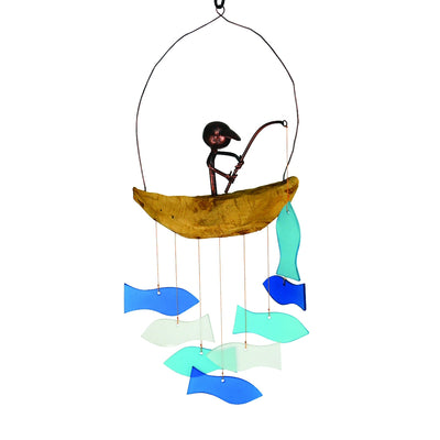 Boat Fishing Glass Wind Chime