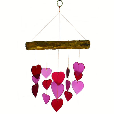 Red/Pink Hearts Glass Wind Chime