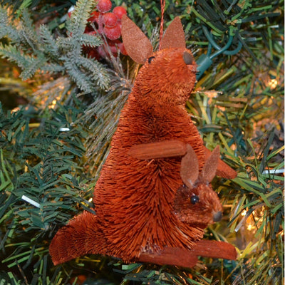 Kangaroo w/Baby Bristle Brush Ornament