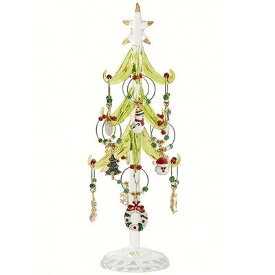Glass Tree w/Holiday Wine Charms 8 inch