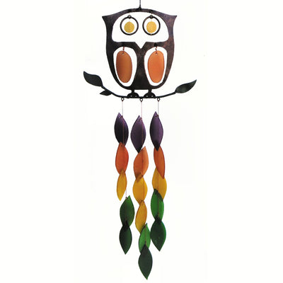 Retro Owl Glass Wind Chime