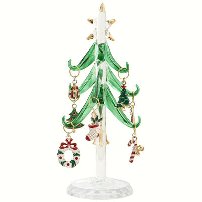 Glass Tree w/Enamel Ornaments 6 inch