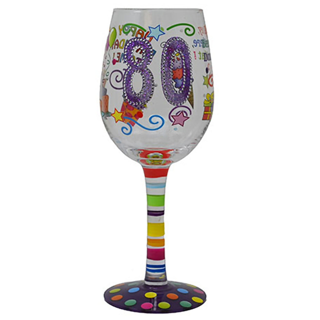 Happy 80th Birthday Wineglass
