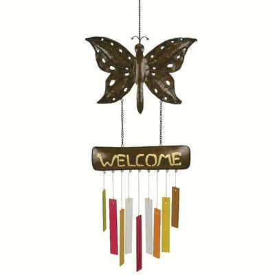 Welcome Butterfly Glass Wind Chime
