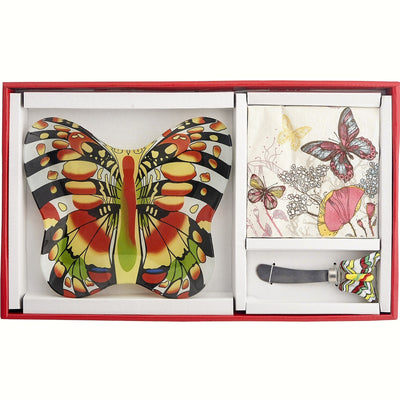 Butterfly Glass Serving Platter Gift Set