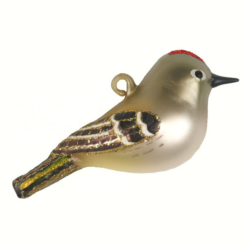 Ruby Crowned Kinglet Glass Ornament