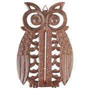 Cast Iron Owl Thermometer Antique Brown