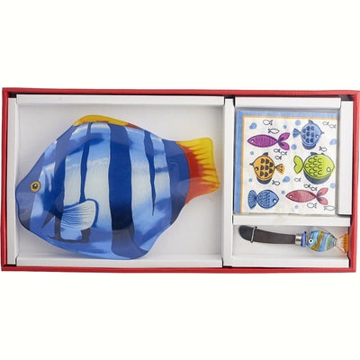 Fish Glass Serving Platter Gift Set