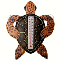 Brown Turtle Window Thermometer Small