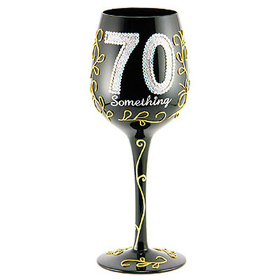 Birthday 70 Something Wineglass