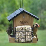 Bamboo Hopper Feeder w/Suet Cages