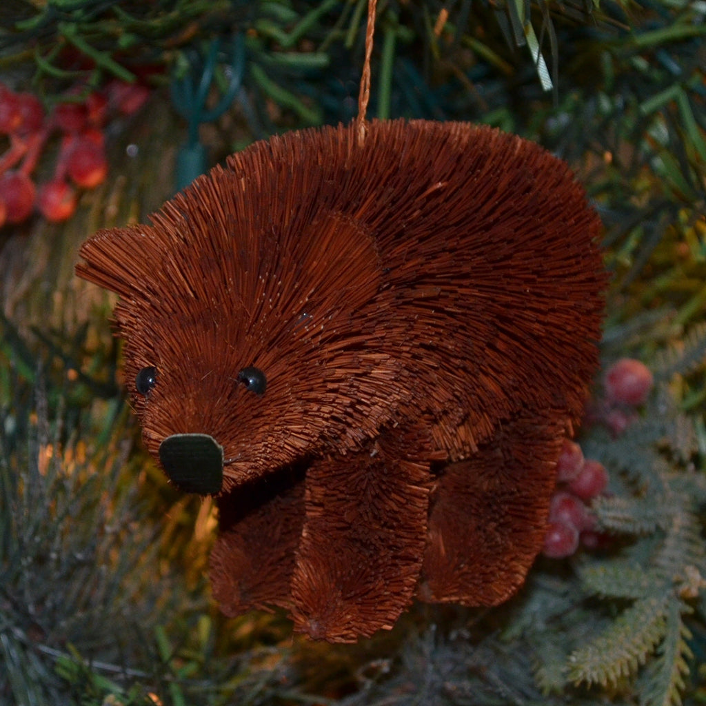 Brown Bear Bristle Brush Ornament