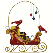 Cardinals & Ornaments Sleigh Hanging Decoration