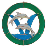 Dolphin Stained Glass Window Panel 8""