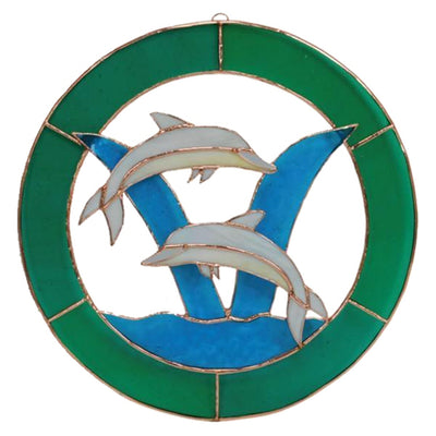 Dolphin Stained Glass Window Panel 8