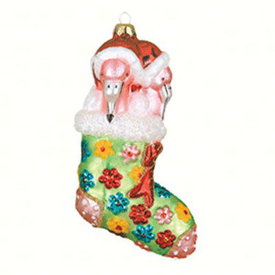 Flamingo Lime Stocking Glass Ornament
