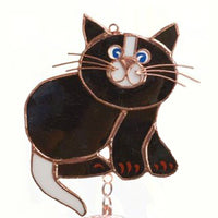 Black Cat Stained Glass Wind Chime 40""