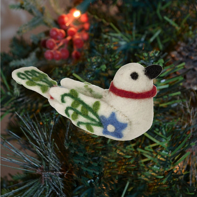Lovebird Natural Wool Ornament White