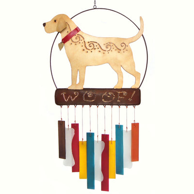 Woof Labrador Glass Wind Chime