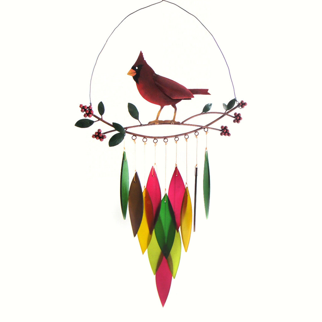 Cardinal on Branch Glass Wind Chime