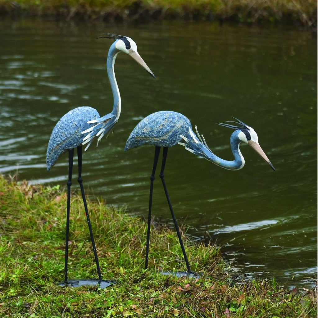 Steel Herons Garden Sculptures Set of 2