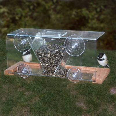 Deluxe Hopper Window Bird Feeder w/Perch