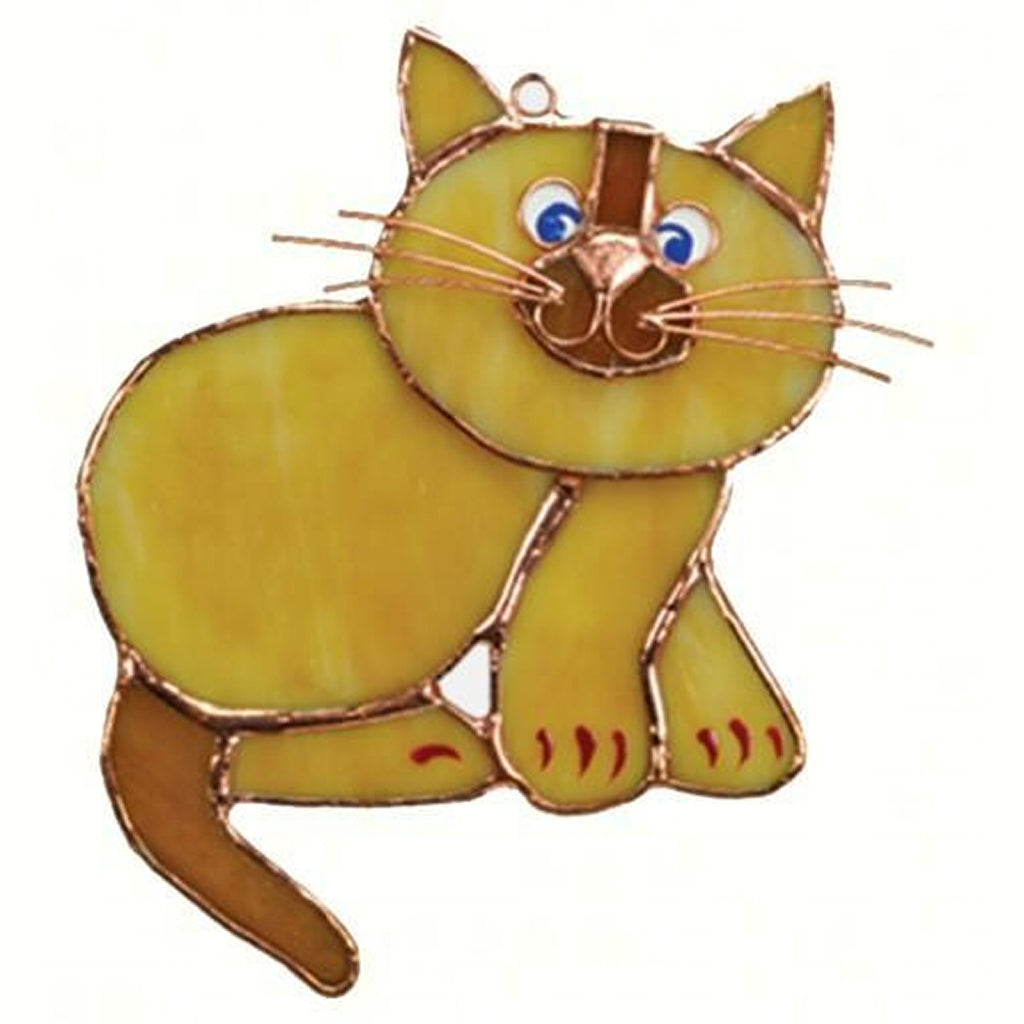 Tan Cat Stained Glass Suncatcher