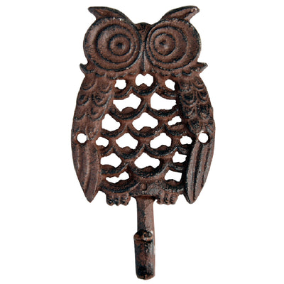 Cast Iron Owl Single Hook Antique Brown