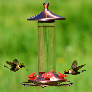 Copper Glass Hummingbird Feeder